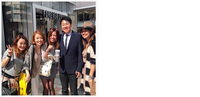 FOREVER 21 CEO チャン会長と。(左より;上田、渡邉、ひとりおいて、チャン会長、齋山)